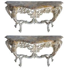 Pair of Louis XV Style Painted Consoles with Marble Tops