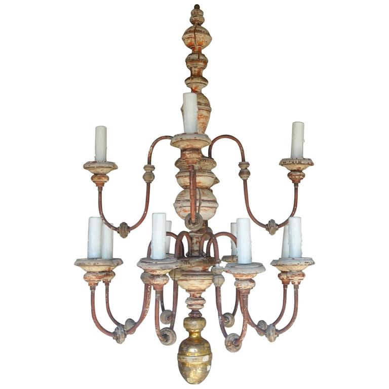 Twelve-Light Italian Wood and Iron Painted Chandelier