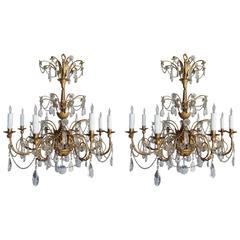 Pair of Eight-Light Crystal Gilt Metal Chandeliers, circa 1900