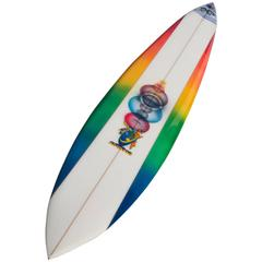 Mike Hynson Hand Shaped Rainbow, Big Wave Gun Surfboard, Artwork by Eilers, New