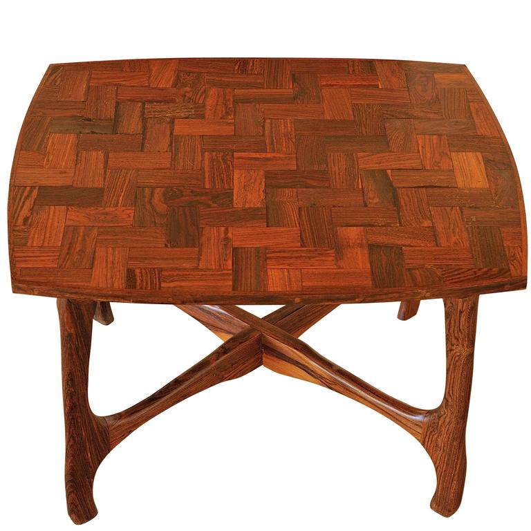 don shoemaker side table with parquetry top for sale at 1std