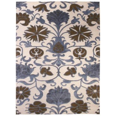 Contemporary Floral Tibetan Handmade Wool & Silk Rug in Blue, Brown & White