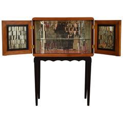 Unusual Italian Mirrored Glass 1940s Bar Cabinet