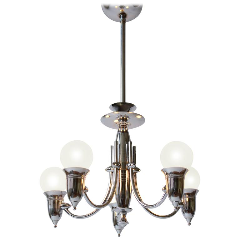 Art Deco Five Arms Nickel-Plated Chandelier with Two Matching Pendant, 1930s USA For Sale