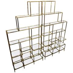 Pair of Italian Brass and Glass Shelving Units