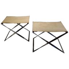 Pair of PK91 Foldable Canvas Stools by Poul Kjaerholm