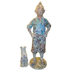 Tintin and Snowy Figures Made in Decoupage Style Fragments