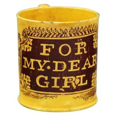 "Canary Yellow Staffordshire Pottery Mug ""For My Dear Girl"""