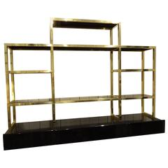 French Brass and Blank Glass Shelving Unit