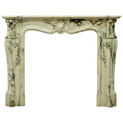 19th Century Marble Louis XV Fireplace Mantel from France