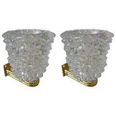 Pair of Murano Glass and Gilded Brass Sconces, Italy, 1970