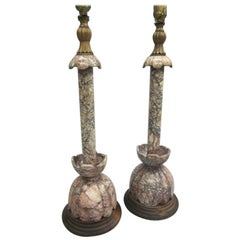 Pair of Modern Neoclassical Italian Marble Table Lamps