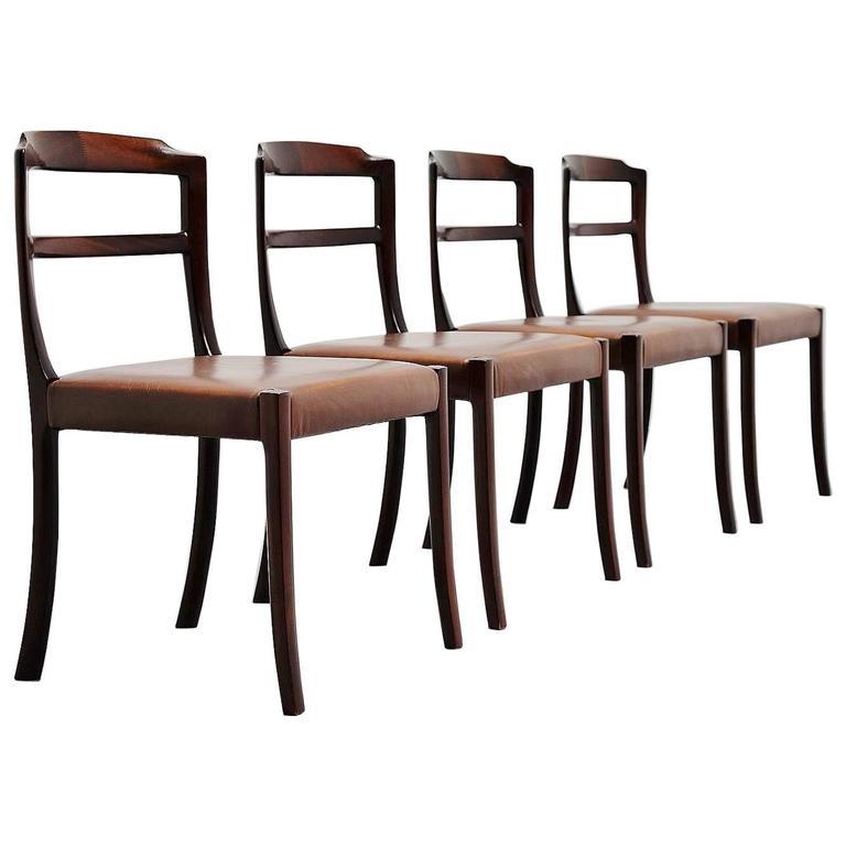 Ole Wanscher Mahogany Dining Chairs AJ Iversen, Denmark, 1965 1