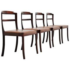 Ole Wanscher Mahogany Dining Chairs AJ Iversen, Denmark, 1965