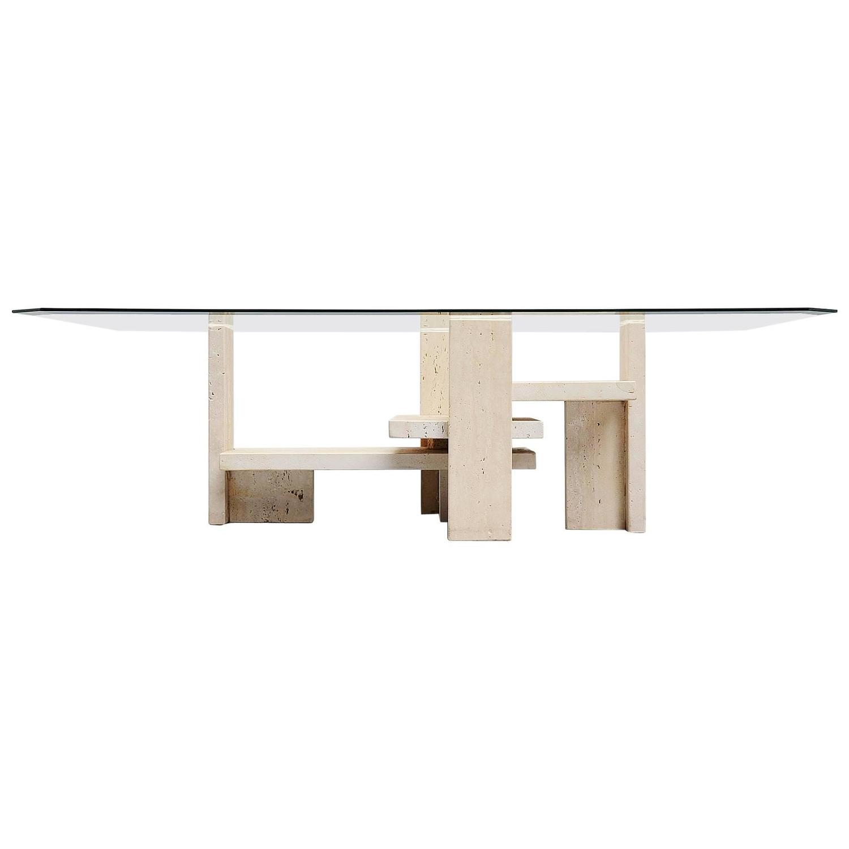 willy ballez sculptural travertine coffee table belgium 1970 for