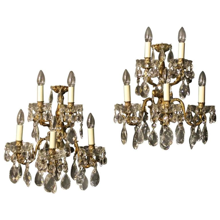 Italian Crystal Wall Lights : Italian Pair of Five-Arm Crystal Antique Wall Lights at 1stdibs