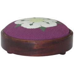 Victorian Footstool Mahogany frame Hand Embroidered wool-work Top, Circa 1880