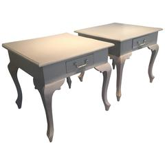 """Pair of French Painted Side Tables, Signed """"Gelton, Paris"""""""