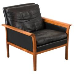 Hans Olsen Teak and Leather Lounge Chair