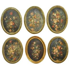 Outstanding Set of Six Italian 18th Century Floral Still Life Paintings