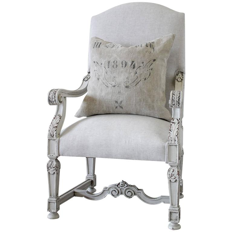 19th Century French Library Armchair In Natural Linen For Sale At 1stdibs