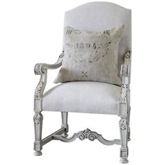 19th Century French Library Armchair in Natural Linen