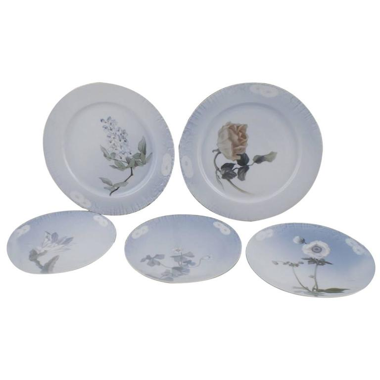 Five Royal Copenhagen Art Nouveau Plates Decorated with Flowers. For Sale  sc 1 st  1stDibs & Five Royal Copenhagen Art Nouveau Plates Decorated with Flowers. For ...
