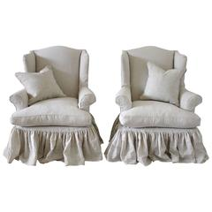 Vintage Wingback Chairs Slip Covered in Organic Irish Linen