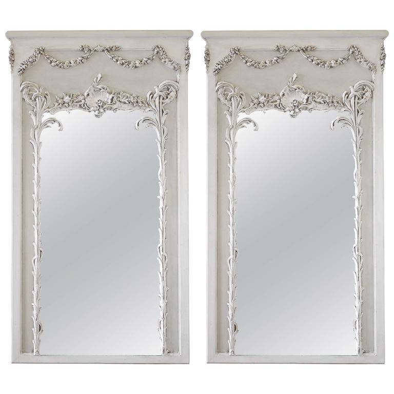 Pair of vintage french style painted trumeau mirrors with for Vintage style mirrors