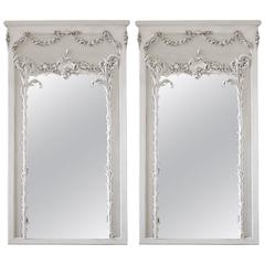 Pair of Vintage French Style Painted Trumeau Mirrors with Rose Swags