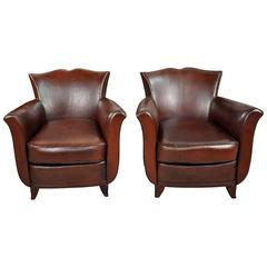 French Early 20th Century Art Deco Club Chairs
