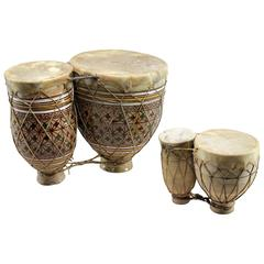 Vintage Set of Two Moroccan Double Ceramic Bongo-Style Tbilat Drums