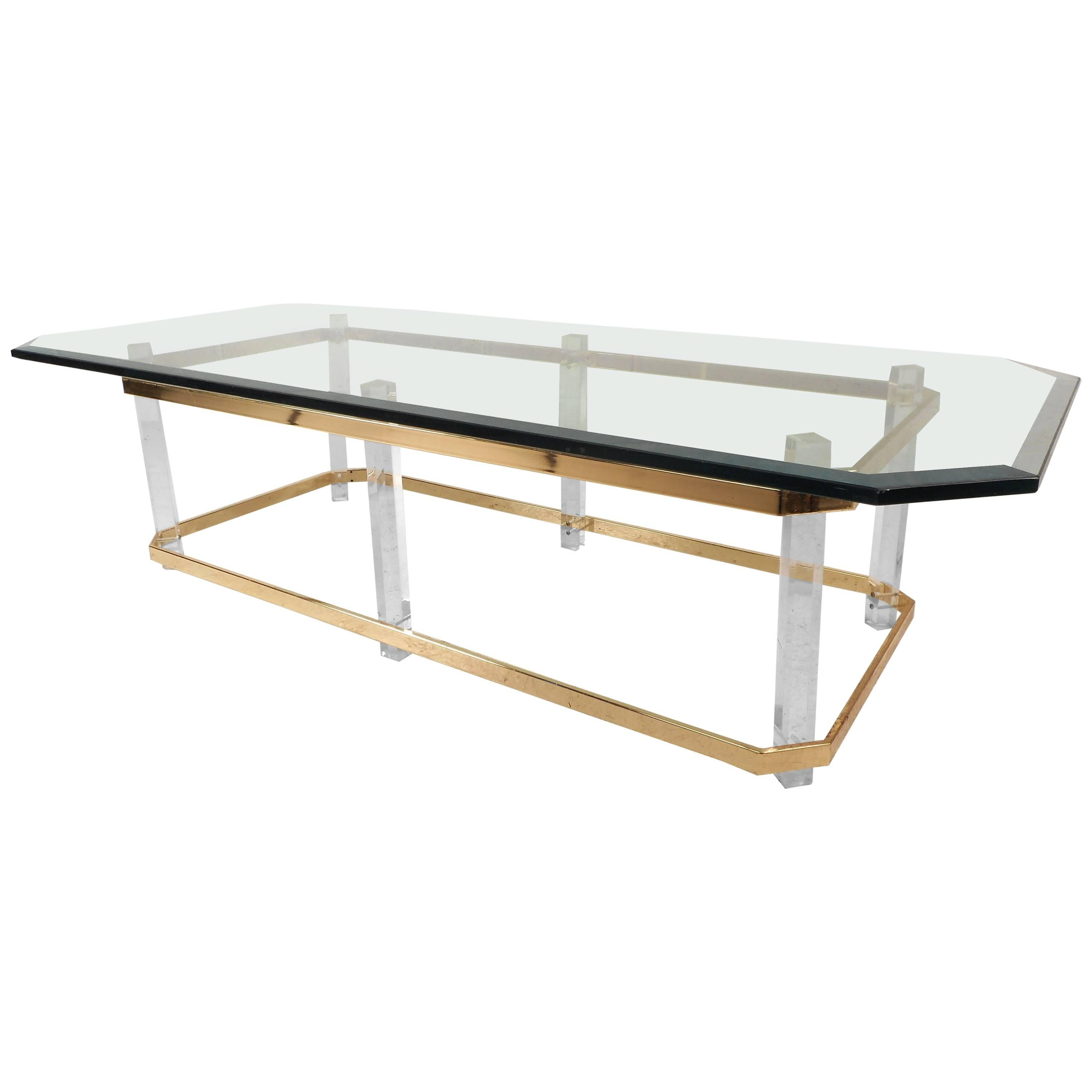 Long Mid-Century Modern Brass and Lucite Coffee Table after Charles Hollis Jones