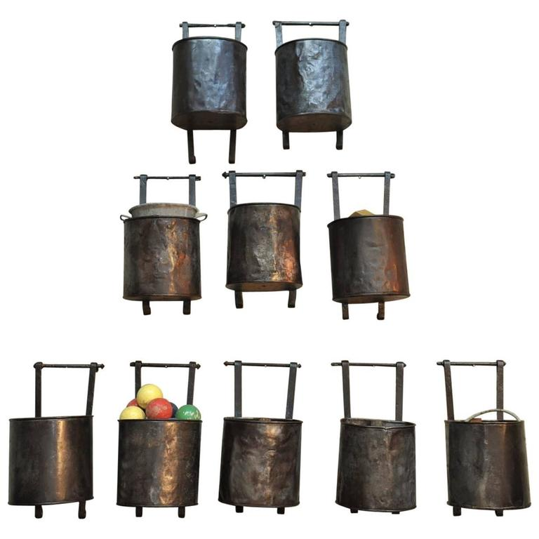 12 French Water Mill Iron Buckets, circa 1900 For Sale