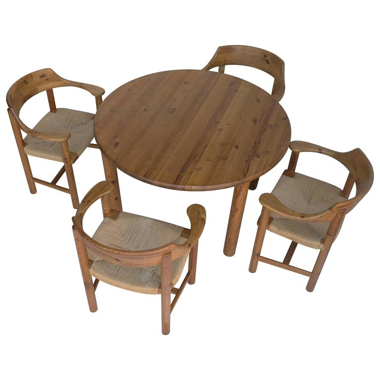 Rainer Daumiller Dining Set in Pinewood with Papercord Seats 1