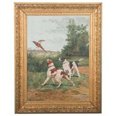 Original Signed 19th Century Antique Oil Painting, Hunting Scene with Dogs