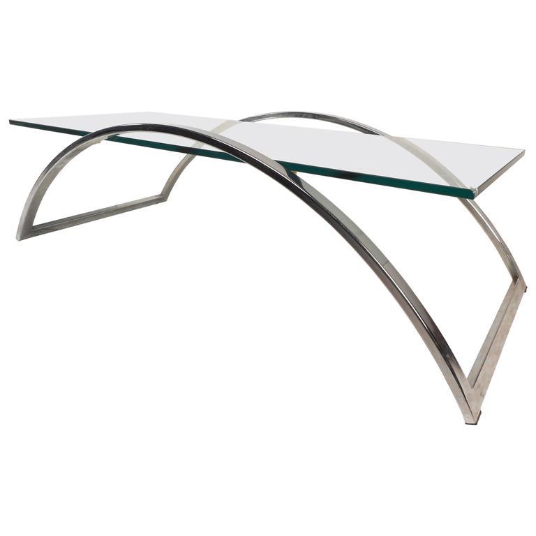 Mid-Century Modern Flat Bar Chrome and Glass Coffee Table