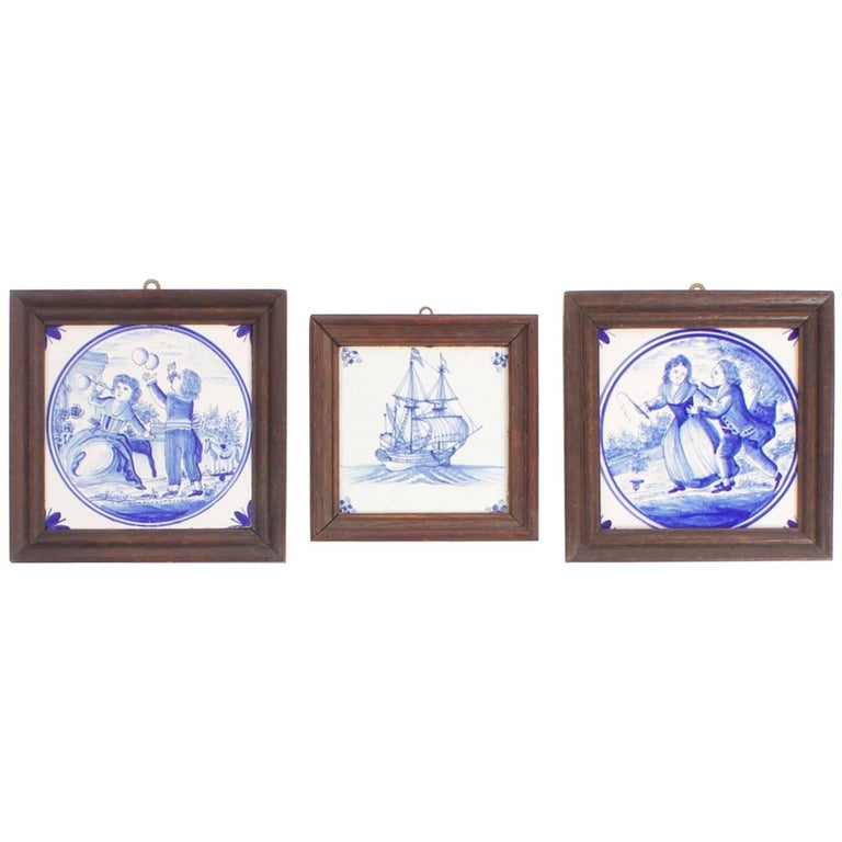 Set of Three Framed Victorian Pottery Tiles For Sale at 1stdibs