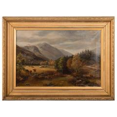 Original 19th Century Antique English Landscape Oil Painting, Highland Cattle