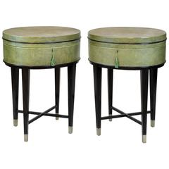 Pair of Oval Shagreen Side Tables or Stands on Ebonized Bases