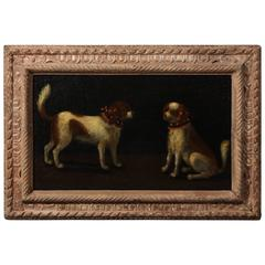 Italian Oil Painting of a Pair of Spaniels, 17th Century