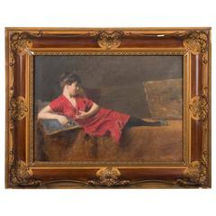 Original 19th Century Antique Oil Painting, Portrait of a Reclining Lady in Red