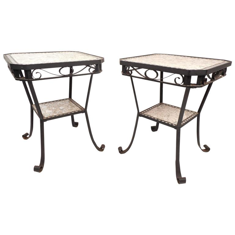 Pair Of Stylish Contemporary Modern Mosaic Tile End Tables