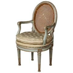 Venetian Neoclassic Painted Armchair with Oval Caned Back