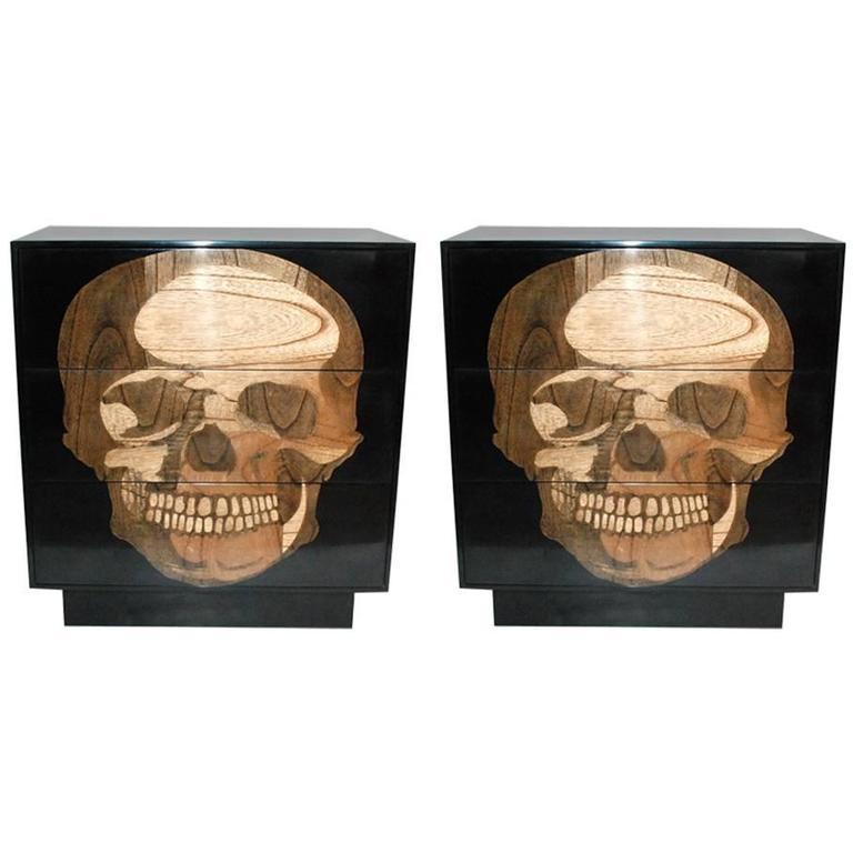 Pair of Sculptural Skull Commodes
