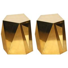 """Pair of Brass """"Rock"""" Side Tables"""