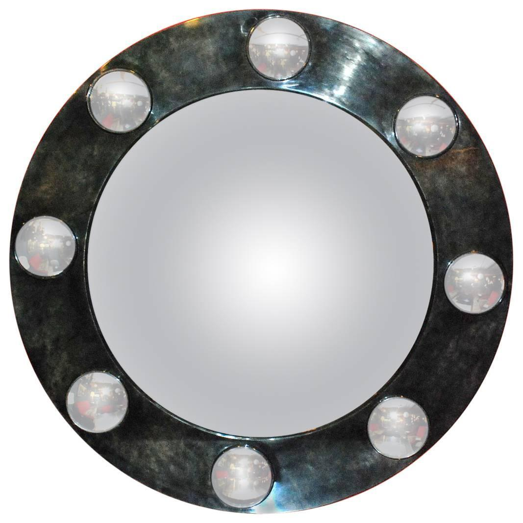 Large round parchment convex mirror for sale at 1stdibs for Large round mirrors for sale