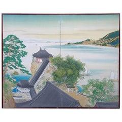 "Japanese Old Vintage Silk Screen ""Sail Boats on Blue Lake"""
