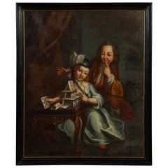 German 18th Century Oil Painting, House of Cards