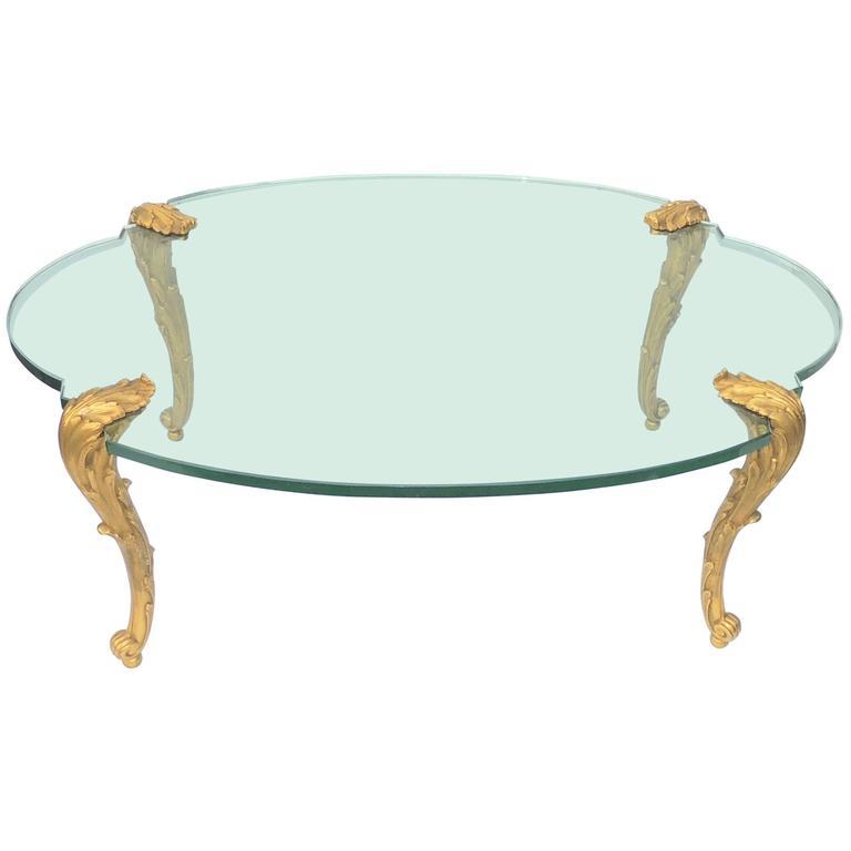 Wonderful P E Guerin Doré Gilt Bronze Glass Top Oval Louis XV Fine Coffee  Table 1